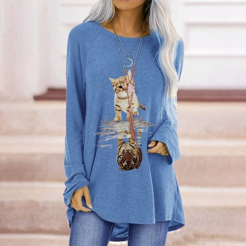 Top Women's t-shirts spring and fall solid color kitten print long-sleeved harajuku street loose casual  woman t-shirts