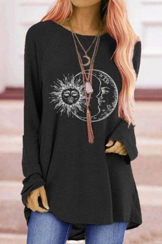 Autumn T-Shirt Women's Fashion Trend Moon sun Printed Round Neck Long Sleeve Casual Tops