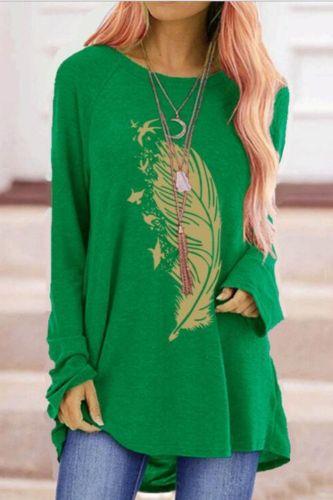Harajuku Feather Top women Printed Round Neck Women T-shirts Oversized Long Sleeve Autumn T-shirts