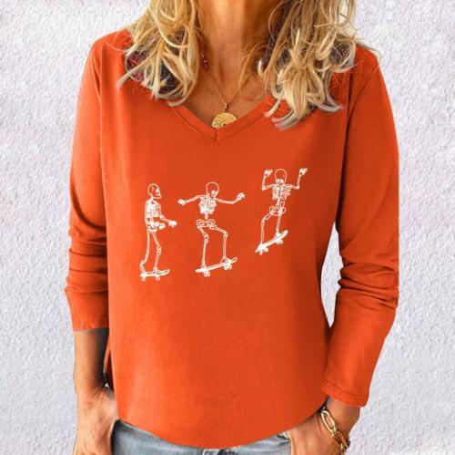 Women T-Shirt V-neck Skateboard Printed Style Long Sleeve Woman T-shirts Halloween Skull Tops