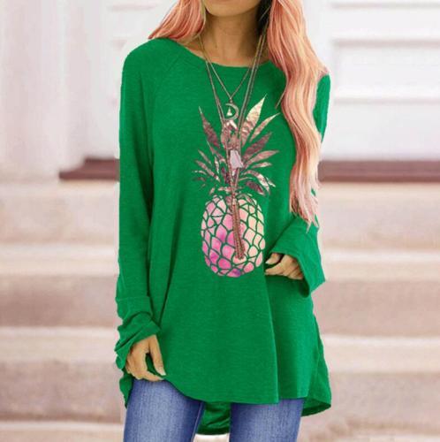 Fashion Pineapple Print Women's T-Shirt Sweatshirts O-neck Plus Size Women's Sweatshirts Harajuku T-Shirt