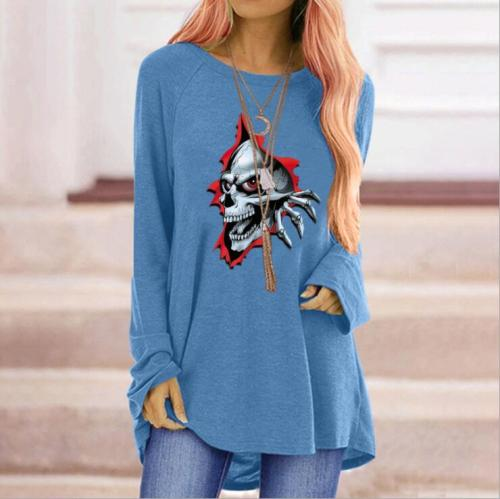 Women's Gothic Red-eye Skull T-shirt New Solid Color Lace Sexy Fashion Long-sleeved Autumn Casual Top