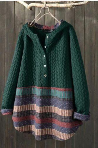 Womail Long Sleeve Striped Printed Hooded Sweatshirt Female Vintage Women Cotton Pullovers Fashion 2021 Winter Women New Hoodies