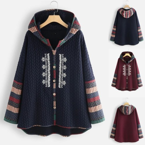 2021 Autumn and Winter New Hooded Single-breasted Ethnic Print Long-sleeved Mid-length Coat Women