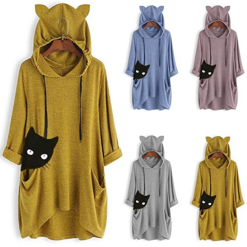 Autumn New Women Print Clothes Sweet Anime Cosplay Costume Cute Girl Cat Ear Hooded Top Sweater Carnival Streetwear Oversize 5XL