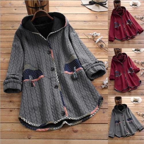 Autumn 2021 Women Floral Print Coat Hooded Jacket Open Front Warm Outerwear Overcoat big Size Manteau femme Jackets Windbreaker