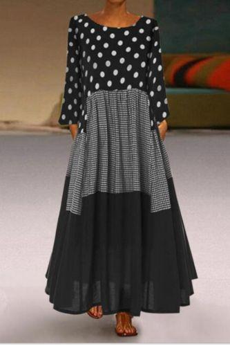 Women Vintage Autumn Dress Boho Wave Point Print Dress Long Sleeves O-Neck Party Maxi Dresses Loose Women Dresses