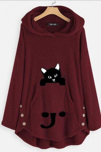 Sweatshirt Women Fleece Cat Embroidery Plus Size Warm Hoodies Causal Top Button Winter Warm Fluffy Plush Sweatshirts