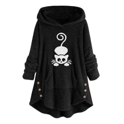 Women Black Cat Embroidery Pocket Coat Fluffy Hooded Plus Size Long Sleeve Winter Warm Pullover Kawaii Hoodies Fleece Sweatshirt