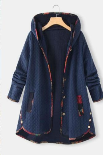 Autumn And Winter 2021 New Hooded Cotton Padded Jacket Loose And Printed Long Sleeve Cotton Padded Jacket For Women