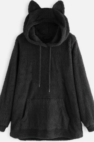 Oversize Hoodie Womens Fleece Teddy Hoodies Cat Ear Print Warm Hooded Pullover Top Sweatshirts Jumper Women Hoodie Sweatshirts