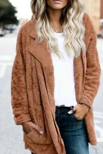 Women's Autumn Winter Warm Cotton  Solid Color Causla Cardigan With Pockets Turn-Down Collar Elegant Cardigan