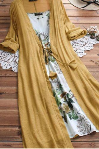 Feitong Summer Dress Women Vintage Boho O-Neck Floral Print Lace Two-piece 3/4 Sleeve Dress Dames Jurken Casual Women Dress