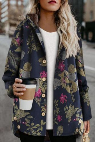 Mid-length printed hooded cotton jacket with velvet thick cotton women's coats Plus size cotton jacket
