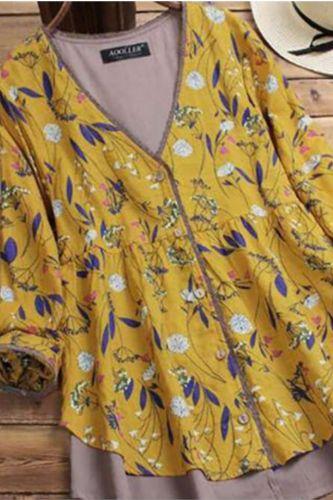 M-5XL Plus Size Blouse Shirt Women Spring Autumn V Neck Long Sleeve Floral Print Patchwork Elegant Blouse Ladies Tops