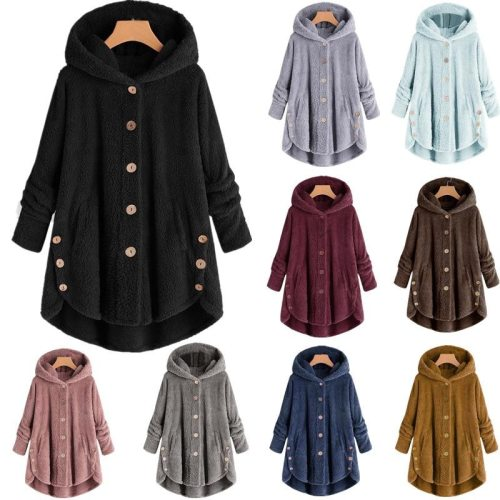 2021 Winter Women Vintage Coats Fashion Warm Solid Color Casual Button Hooded Outwear Plus Size Soft Long Sleeve Wool Coats