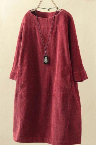 Loose Casual Female Dress Office Lady Work Dress Vestidos O Neck Long sleeve plus size Pocket Dress Korean robe 2021