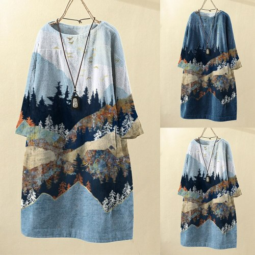 2021 autumn and winter new round neck pullover long sleeve landscape painting printed corduroy women's casual dress