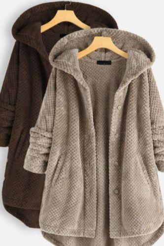 Plus Size Fashion Plush Warm Coat Casual Ladies Faux Fur Solid Jacket Coat Streetwear Female Winter Long Sleeve Womens Outerwear