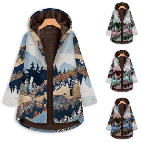 New Ladies Jacket Winter Retro Warm Velvet Jacket Casual Pocket Zipper Hooded Female Jacket Landscape Print Pattern Female Coat