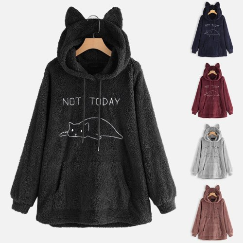 Casual Cat Ear Hooded Pullovers Women Hoodies Polyester Coat with Pocket 2021 Autumn Winter New Double-sided Plush Long Sleeve