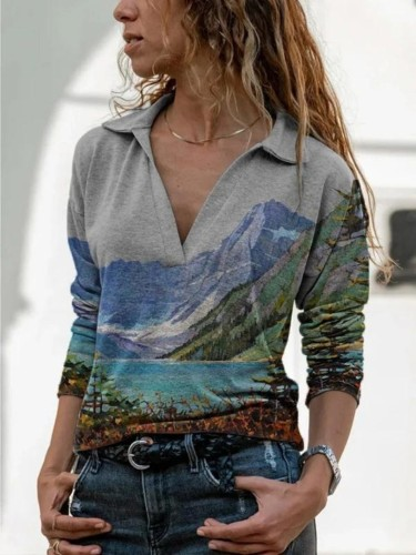 2021 autumn and winter new pullover long sleeve landscape painting printed women's casual dress
