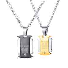 Wholesale Stainless Steel Promise Couple Pendant Necklaces