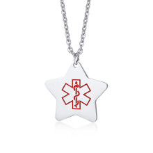 Wholesale Steel Star Pendant Necklace with Medical