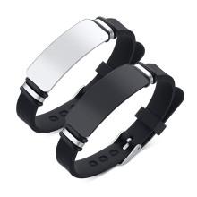 Wholesale Stainless Steel Men Custom Black ID Silicone Bracelets
