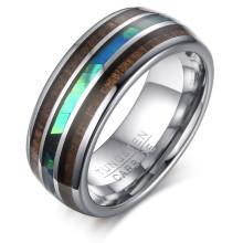 Wholesale Tungsten Carbide Hawaiian Koa Wood and Abalone Shell Ring 8mm