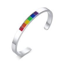 Wholesale Stainless Steel Enamel Rainbow Cuff Bracelet