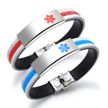 Wholesale Stainless Steel Engraved Medical Alert Identity ID Silicone Bracelet