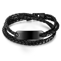 Wholesale Double-Deck Leather Bracelet with Black Steel ID