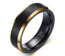 Wholesale Black Brushed Tungsten Gold Edges Wedding Band Ring