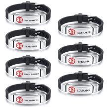 Wholesale Engravable Black Leather Medical ID Bracelet