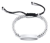 Wholesale 5MM Stainless Steel Beads ID Tag Adjustable Bracelets