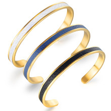 Wholesale Stainless Steel Leather Inlay Cuff Bracelet