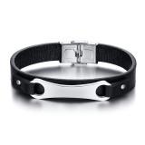 Wholesale Men's Black Leather Bracelet Personalized Engraving