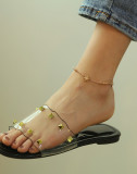 Wholesale Stainless Steel Woman Daisy Flowers Link Anklet