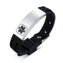 Wholesale Stainless Steel Personalized Emergency Medical ID Rubber Bangle
