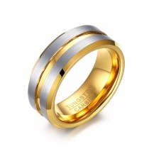 IP Gold Tungsten Ring with Groove for Her Wholesale