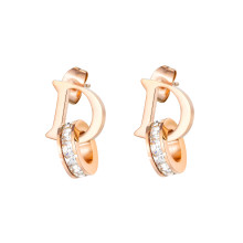Wholesale Stainless Steel D-Shaped Diamond Stud Drop Earrings