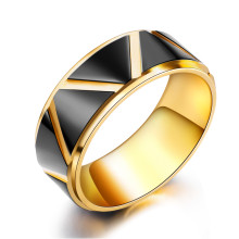 Wholesale Steel Gold and Black Mens Ring with Triangle