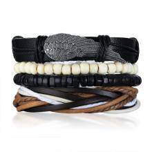 Wholesale Mens Multilayer Leather Charm Bracelet