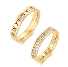 Wholesale Stainless Steel Roman Numeral and Cubic Zirconia Wedding Bands