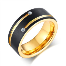 Wholesale Two-Tone Tungsten Ring with CZ