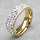 Stainless Steel Gold Ring with 3 Lines Cubic Zirconia