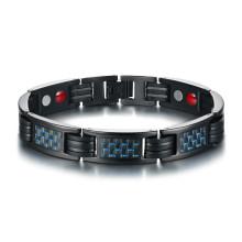 Wholesale Steel Magnetic Bracelet with Blue Carbon Fiber