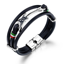 Wholesale Steel Mens Leather Bracelet with Guitar