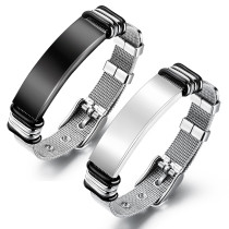 Wholesale Stainless Steel Sleek Mesh ID Bracelet